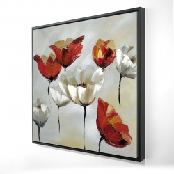 Framed 24 x 24 - 3D - Abstract red and white flowers