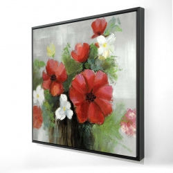 Framed 24 x 24 - 3D - Abstract wild flowers bundle