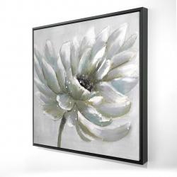 Framed 24 x 24 - 3D - White chrysanthemum