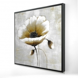 Framed 24 x 24 - 3D - Modern beige flower