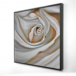 Framed 24 x 24 - 3D - White rose closeup