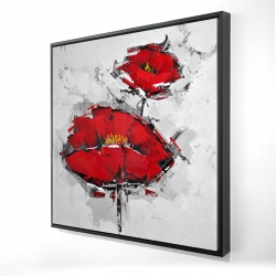 Framed 24 x 24 - 3D - Texturized red poppies