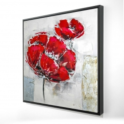 Framed 24 x 24 - 3D - Abstract and texturized red flowers