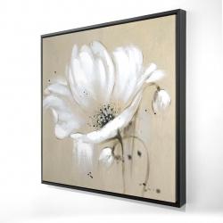 Framed 24 x 24 - 3D - White abstract wild flower