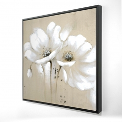 Framed 24 x 24 - 3D - White abstract wild flowers