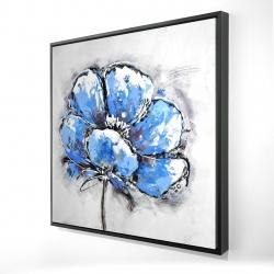 Framed 24 x 24 - 3D - Abstract blue petals