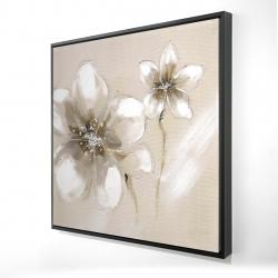 Framed 24 x 24 - 3D - Two cream flowers