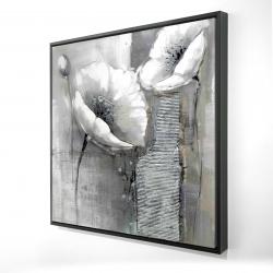 Framed 24 x 24 - 3D - Industrial monochrome flowers
