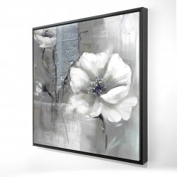 Framed 24 x 24 - 3D - Monochrome and silver flowers