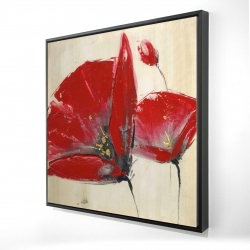 Framed 24 x 24 - 3D - Three red flowers