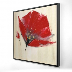 Framed 24 x 24 - 3D - Two red flowers