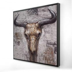 Framed 24 x 24 - 3D - Bull skull with typography