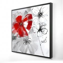 Framed 24 x 24 - 3D - Red & gray flowers