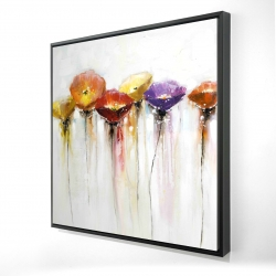 Framed 24 x 24 - 3D - Multiple colorful abstract flowers
