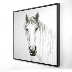 Framed 24 x 24 - 3D - Solitary white horse