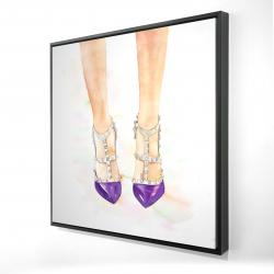 Framed 24 x 24 - 3D - Purple studded high heels