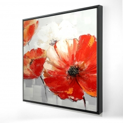 Framed 24 x 24 - 3D - Abstract red wild flowers
