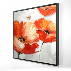 Framed 24 x 24 - 3D - Red wild flowers in the wind