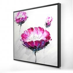 Framed 24 x 24 - 3D - Pink wild flowers