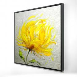 Framed 24 x 24 - 3D - Yellow fluffy flower