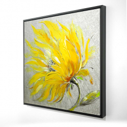Framed 24 x 24 - 3D - Yellow flower