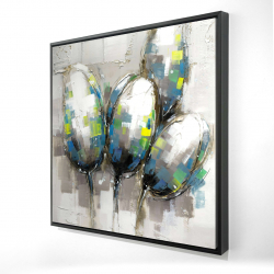 Framed 24 x 24 - 3D - Abstract blue tulips