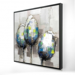 Framed 24 x 24 - 3D - Three abstract tulips