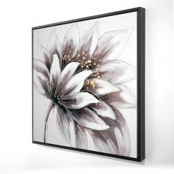 Framed 24 x 24 - 3D - Purple flower with gold center