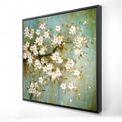 Framed 24 x 24 - 3D - White cherry blossom