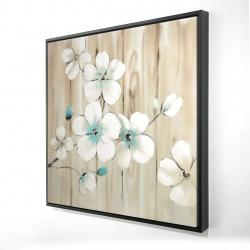 Framed 24 x 24 - 3D - Cherry blossom in white