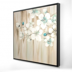 Framed 48 x 48 - 3D - White flowers on wood