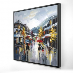 Framed 24 x 24 - 3D - Passersby in the street by rainy day of fall
