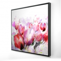 Framed 24 x 24 - 3D - Abstract blurry tulips