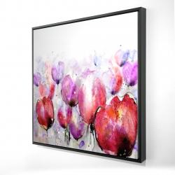 Framed 24 x 24 - 3D - Pink tulips field