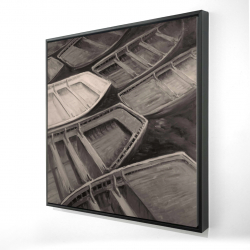Framed 24 x 24 - 3D - Small canoes sepia style