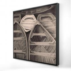 Framed 24 x 24 - 3D - Sepia canoes