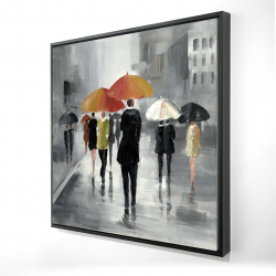Framed 36 x 36 - 3D - Street scene with umbrellas