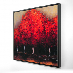 Framed 24 x 24 - 3D - Red trees by a dark day