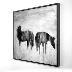 Framed 24 x 24 - 3D - Horses silhouettes in the mist