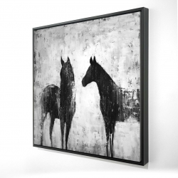 Framed 24 x 24 - 3D - Black and white horses
