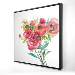 Framed 24 x 24 - 3D - Watercolor bouquet of flowers