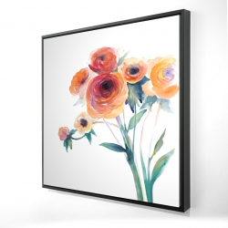 Framed 24 x 24 - 3D - Watercolor flowers