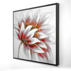 Framed 24 x 24 - 3D - Red flower with gold center