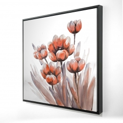 Framed 24 x 24 - 3D - Watercolor red flowers