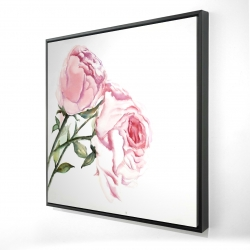 Framed 24 x 24 - 3D - Watercolor pink roses