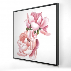 Framed 24 x 24 - 3D - Two pink watercolor roses