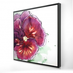 Framed 24 x 24 - 3D - Blossoming orchid with wavy petals
