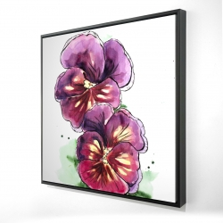 Framed 24 x 24 - 3D - Two blossoming orchid with wavy petals