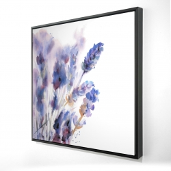 Framed 24 x 24 - 3D - Watercolor lavender flowers with blur effect