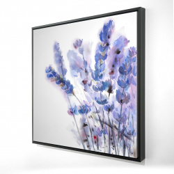 Framed 24 x 24 - 3D - Watercolor lavender flowers